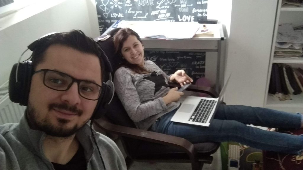 Working near my beautiful wife